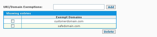 SpamWall Content Filtering Domains and URIs