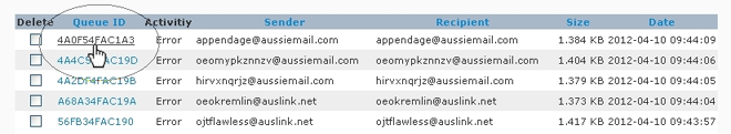 SpamWall Mail Queue Manager Select Message
