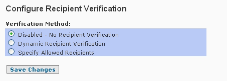 SpamWall Recipient Verification Screen