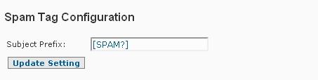 Configuração da tag de spam