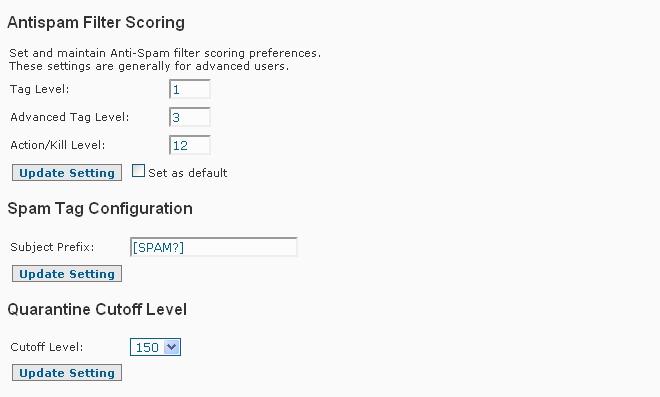 SpamWall Spamfilter Config 2