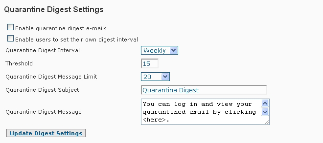 SpamWall Quarantine Digest Settings