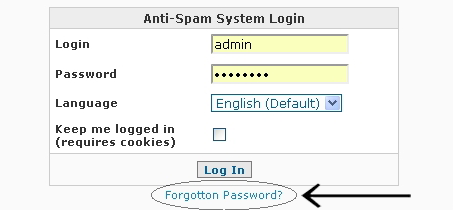 System Login Forgot Password