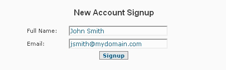 System Settings Account Signup Form