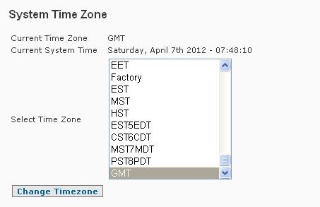 System Settings Timezone